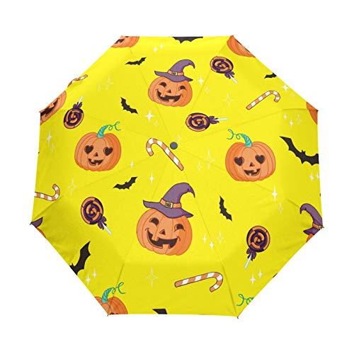 Murciélago Fantasma De Calabaza De Halloween Paraguas Plegables niña niño Automático Resistencia Viento Paraguas Impermeable de Viaje
