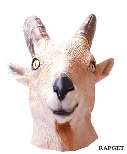 Antelope mask-Goat Antelope Animal Head Mask Novelty Halloween Costume Party Latex Animal Mask Full Head for Adults Gray