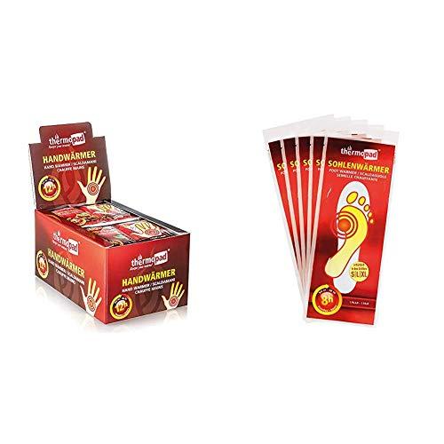 Thermopad 78310 - Busta scaldamani, Confezione da 30 Paia & Set di Solette scaldapiede, Bianco, L, Pacco da 5