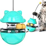 Mural Wall Art Cat Toys Tumbler, Cat Food Dispensing IQ Ball for Chasing Playing Eating, Slow Food Feeder Funny Cat Stick Toy for Cats Kitten Exercise Interactive Game