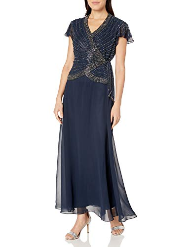 J Kara Women's Petite Short Sleeve V Neck Faux Wrap Long Dress, Navy/Shades//Mercer, 14P