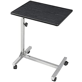 Coavas Over Bed Table C Side Rolling Table 3 Adjustment Levels with Lockable Rolling Wheels Medical Portable Notebook Laptop Desk TV Tray Table for Eating Breakfast Black