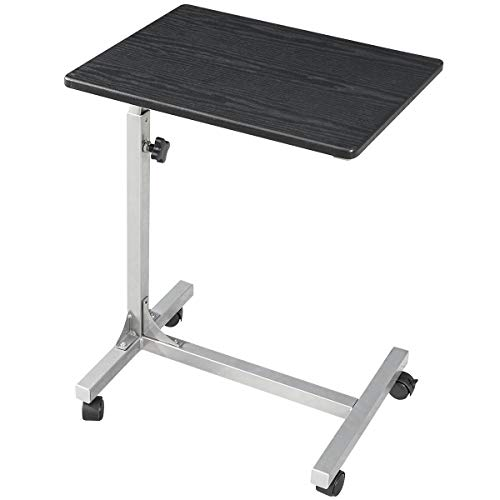 Coavas Over Bed Table C Side Rolling Table with Lockable Wheels, Medical Portable Notebook Laptop Desk 3 Adjustment Levels, TV Tray Table for Eating Breakfast, Black (18.9x14.6x26.4-31.1 inch)