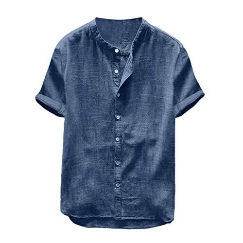 Tefamore T-Shirt à Manches Courtes en Coton de Couleur Unie en Lin pour Hommes(Marine,Large)