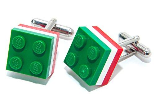 Drapeau italien véritable Lego Brique boutons de manchette – Ballon de football OLYMPIC SPORT fabriqué par Jeff Jeffers