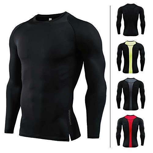 Sillictor Performance - Maglietta termica da uomo, a compressione termica, traspirante, a maniche lunghe, Uomo, C813-nero., UK XX-L / Tag XXX-L