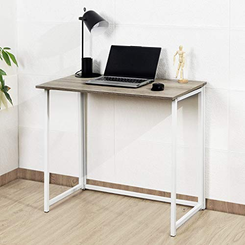 Multifunction Folding Desk Portable Compact Home Office Computer Table with Metal Frame (Oak & White, 80 x 45 x 74 cm)