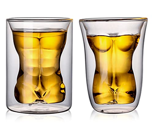 UKKD Jarra Cerveza 2 Unids De Doble Pared De Vidrio Kawaii Anti Caliente Masculino Y Femenino Cuerpo Taza De Café Vino Vasos De Vidrio Vaso De Vidrio