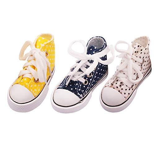 harayaa 3 Pares 7,5 Cm Moda Alta Lona 1/3 BJD 60 Cm Muñeca Zapatos Accesorios de Bricolaje