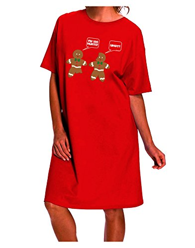 Funny Gingerbread Conversation Christmas Dark Night Shirt Dress - Red - One Size