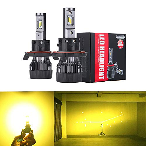 Alla Lighting S-HCR 2018 Newest Version H13 LED Bulbs High Power 10000Lm All-in-One LED H13 Bulb 9008 H13 LED Bulbs, 3200K Yellow (Set of 2)