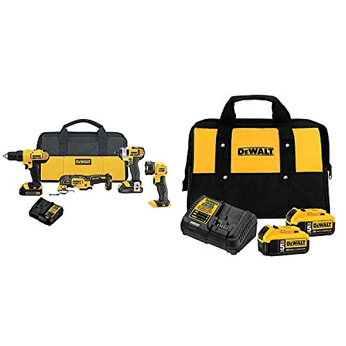 DEWALT 20V MAX Cordless Drill Combo Kit, 4-Tool (DCK444C2) & 20V MAX Battery Starter Kit with 2 Batteries, 5.0Ah (DCB205-2CK)