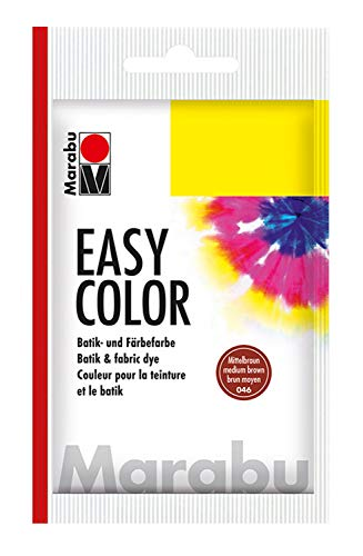 Marabu 17350022046 - Easy Color mittelbraun, Batik- und Handfärbefarbe für Baumwolle, Leinen, Seide und Mischgewebe, handwaschbar bis 30°C, sehr gute Lichtechtheit, nicht kochecht, 25 g