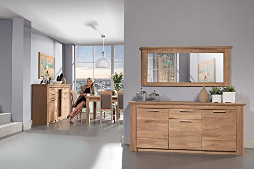 Esszimmer Komplett - Set C Amari, 10-teilig, teilmassiv, Farbe: Wildeiche natur