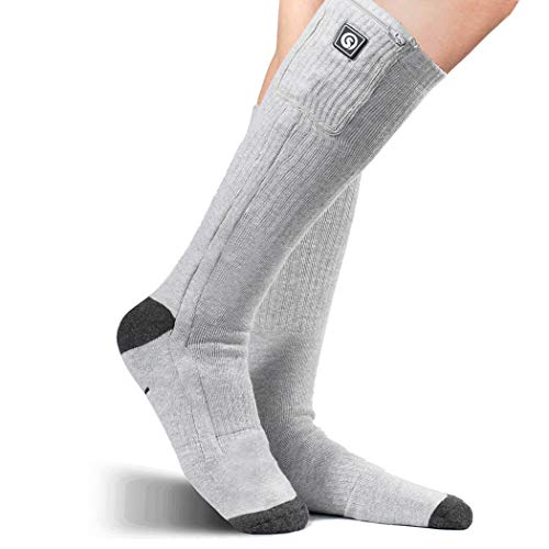 Heated Socks Men Women Electric Heating Rechargeable Battery Powered Socks Thermal Socks for Winter Outdoor Recreation Ski Hiking Camping Ice Fishing Hunting Motorcycle (Gray-2, Medium)