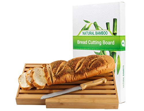 BAMBOO LAND Large Bamboo bread cutting board with large bread knife, and crumb catcher/tray to cut homemade bread, loaf cake and bagel/ Full bread cutting set, best present & Gift for housewarming