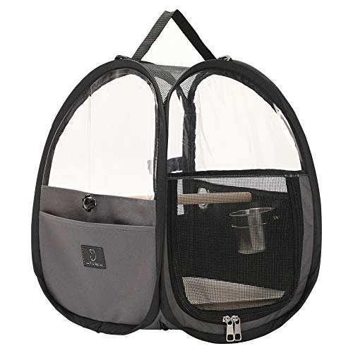 A4Pet Bird Travel Carrier Parrot Carrier Transparent Breathable Bird Cage,Include Bottom Tray for Easy Cleaning