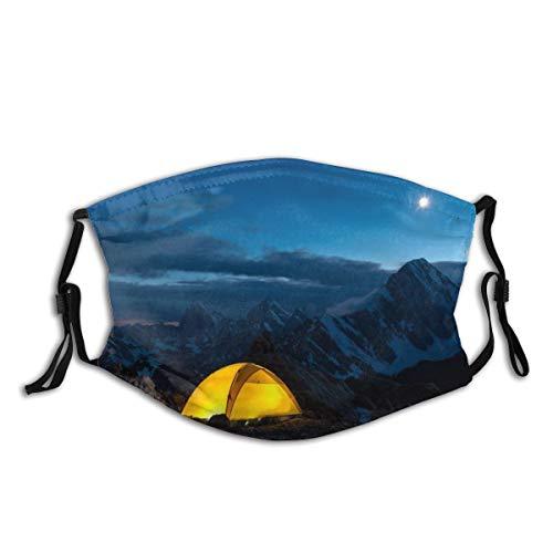 QYUESHANG Twilight Mountain Panorama und Zelt,Staubwaschbarer wiederverwendbarer Filter und wiederverwendbarer Mundschutz gesicht