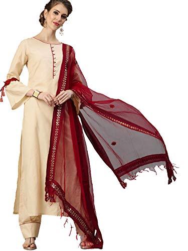 HIRAL DESIGNER Indian Rayon Cotton Kurti with Palazzo & Dupatta for Women Dress Kurta Set Ready to Wear (42, Coral Pink & Beige)