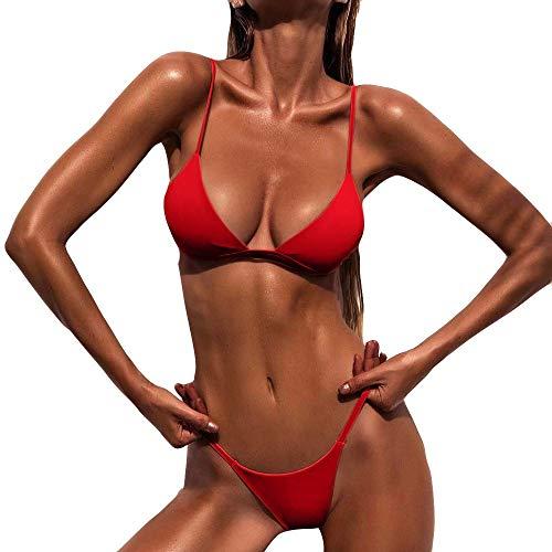 URIBAKY Bikini para Mujer Traje De BañO De Dos Piezas Sling Sexy Push-Up Sujetador Acolchado Y Traje De BañO De Tanga Color SóLido Ropa De Playa