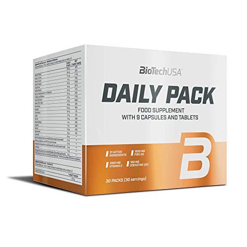 BioTechUSA Daily Pack mit Vitaminen B1, B2, B3, B5, B6 und B12, Vitamin C und E, zusätzlichem Omega 3, Coenzyme Q10 und Traubenkernextrakt, 30 Päckchen