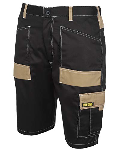 SITE KING Mens Contrast Cargo Combat Work Shorts Size 30 to 44 Heavy Duty...