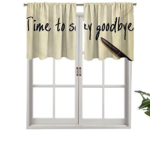 Hiiiman Cortinas cortas opacas con bolsillo para barra con bolígrafo de tinta para decir adiós, juego de 1, cenefas pequeñas de media ventana de 132 x 45 cm para cocina