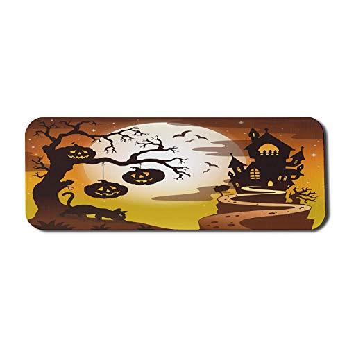 Halloween Computer Mouse Pad, Haunted Castle Kürbisse auf Baum und Katze, Rechteck rutschfeste Gummi Mousepad große Senf Ingwer dunkelgrau