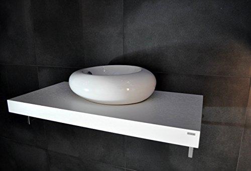 Edler Waschtisch Waschtischplatte Waschkonsole Weiß inklusive Halterung WT-100 Carl Svensson