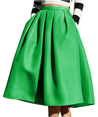 Face N Face Women's High Waisted A line Street Skirt Skater Pleated Full Midi Skirt XX-Large Green