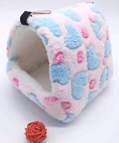 YAzNdom Hamster Coton écureuil Sac de Miel 鼯 Branche de la Fleur Lapin hollandais Cochon d'Inde Chinchillas Hiver Chaud nid hamac (Color : Pink)