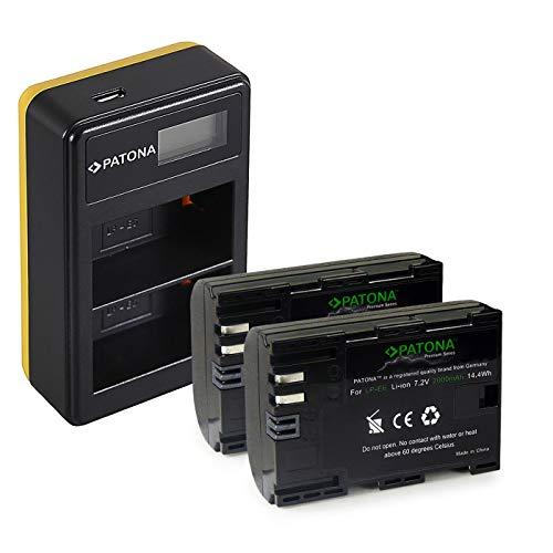 PATONA Cargador Doble LCD USB con 2X LP-E6 Premium Batería Compatible con Canon EOS R, 5D Mark II III IV, XC15, 70D, 80D, 90D