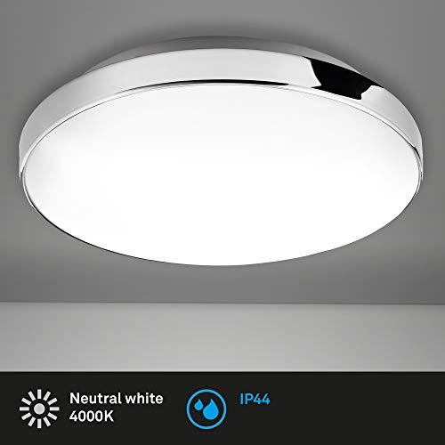Briloner Leuchten - LED Deckenleuchte, Badlampe, IP44, 13 Watt, 1.200 Lumen, 4.000 Kelvin, Weiß-Chrom, Ø 28,5cm