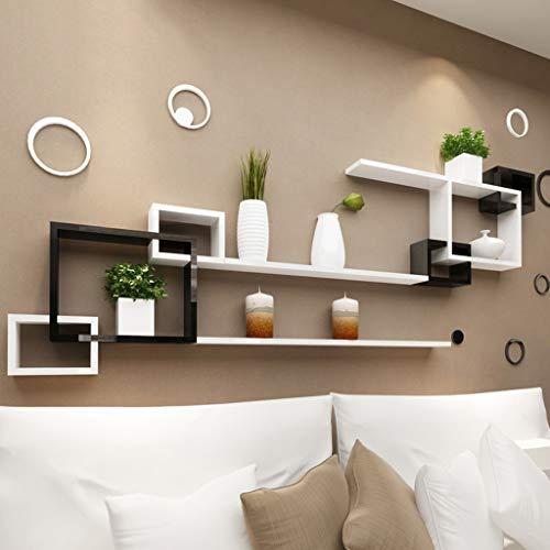 LIN HE SHOP Moderne Wandregal-Wand-schwimmende Regale Gitter-Wohnzimmer-Sofa-Fernsehhintergrund-Kabinett, kreatives Regal, das Esszimmer, Wohnzimmer verziert