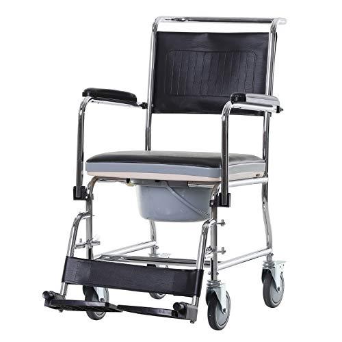 homcom Carrozzina WC Impermeabile Antiscivolo con Vaso Rimovibile Anziani e Disabili Ecopelle e Metallo 66x55x92cm