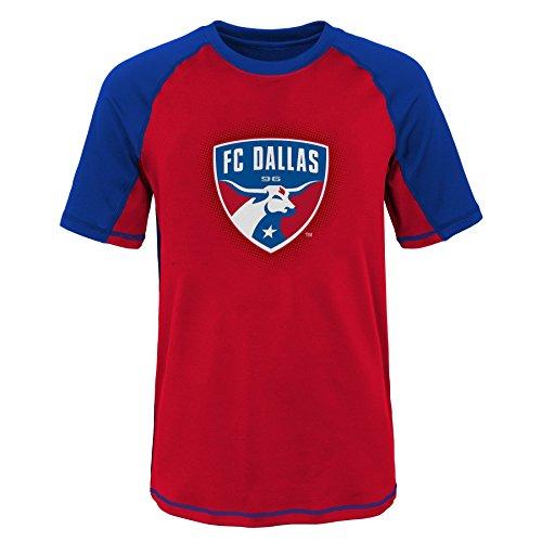 MLS Fc Dallas Youth Boys 8-20 Short Sleeve Rash Guard, Medium (10-12), Blue