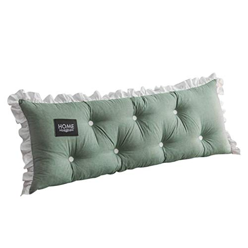 LXJ Bedside cushions, washed cotton, large backrest, tatami, long long cushions, removable and washable, soft cushions for bedroom sofa double mattresses (Color : Green, Size : 150x55cm)
