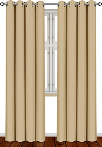 Utopia Bedding 2 Panels Grommet Blackout Curtains Thermal Insulated for Bedroom, W52 x L84 Inches, Biscotti Beige
