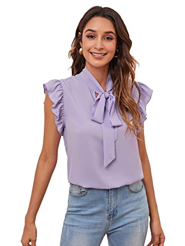 Romwe Women's Casual Short Sleeve Ruffle Trim Bow Tie Blouse Top Shirts Lilac Purple L