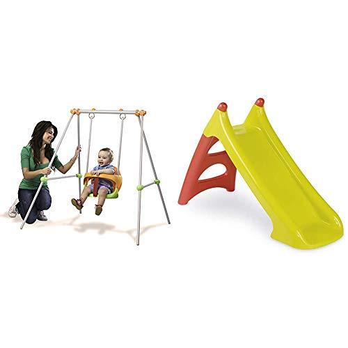 Smoby- Baby Swing Columpio bebé, 120 x 124 x 120 cm (Lysol 310046) + 310270 Tobogán pequeño XS verde y rojo (+3 años), Color (310270)