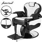 Artist Hand Barber Chair Hydraulic Reclining Barber Chairs Heavy Duty Salon Chair for Hair Stylist Tattoo Chair Salon Equipment (White,Black)