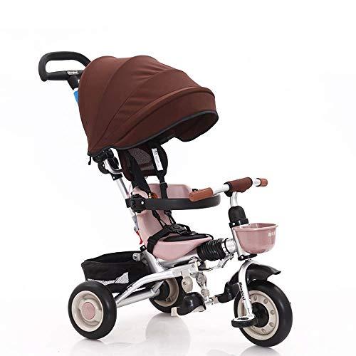 Baby Trikes mit Elterngriff, Regenschutz Kinder Kinder Kleinkind Dreiradfahrt auf 3 Rädern Fahrradüberdachung Faltbares Fußpedal Multifunktionsmaximum (Color : Khaki)