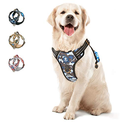 WALKTOFINE Dog Harness, No Pull Reflective Adjustable Dog Harnesses with 2 Leash Clips, Dog Vest Harness with Easy Control Handle for Small Medium...