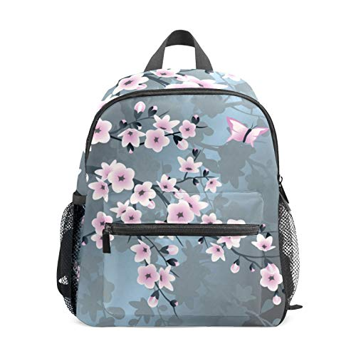 Backpack Student Bookbag for Kids Girls Boys,Pink Cherry Blossoms Casual Daypack School Travel Bag Organizer Gift