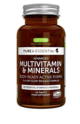 Pure & Essential Advanced Multivitamin & Minerals with Iron, Vitamin D3, Methylated Folate, K2 & Zinc, Timed Release, Vegan, 60 Tablets