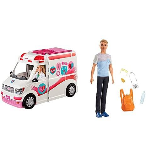Barbie Ambulancia Hospital 2 En 1, Accesorios De Muñecas (Mattel Frm19) + Vamos De Viaje, Muñeco Ken con Accesorios, Regalo para Niñas Y Niños 3 9 Años (Mattel Fwv15) , Color/Modelo Surtido