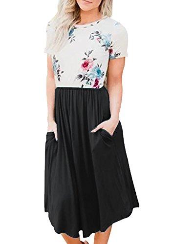 Yidarton Damen Sommer Kleid Kurzarm Blumendruck Patchwork Casual Plissee Midikleid mit Taschen, Schwarz, S