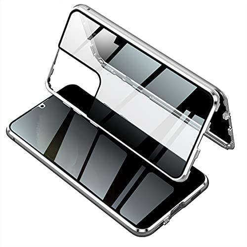 Cover Anti-Spy per Samsung Galaxy S21 Ultra 5G,Protezione 360 Gradi Case Magnetica Bumper in Metallo,Fronte Retro Pellicola in Vetro Temperato Trasparente Custodia per Samsung S21 Ultra,Argent