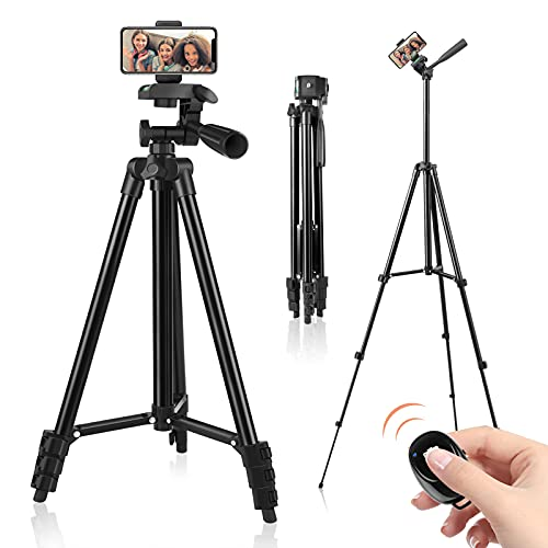 """Phone Tripod, 51"""" Tripod for iPhone Cell Phone Tripod with Phone Holder and Remote Shutter, Compatible with iPhone/Android, Perfect for Selfies/Video Recording/Vlogging/Live Streaming"""