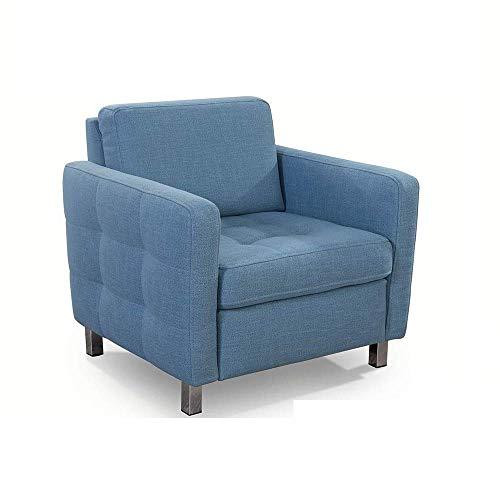 CAVADORE Sessel Paolo / Stilvoller Polstersessel mit Steppung in Sitz und Armlehne / 77 x 78 x 78 / Strukturstoff, Blau